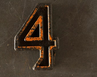 """Vintage Industrial Number """"4"""" Black with Chippy Orange and Blue Paint, 2"""" tall (c.1940s) - Monogram Display, Shadow Box Number, Art"""