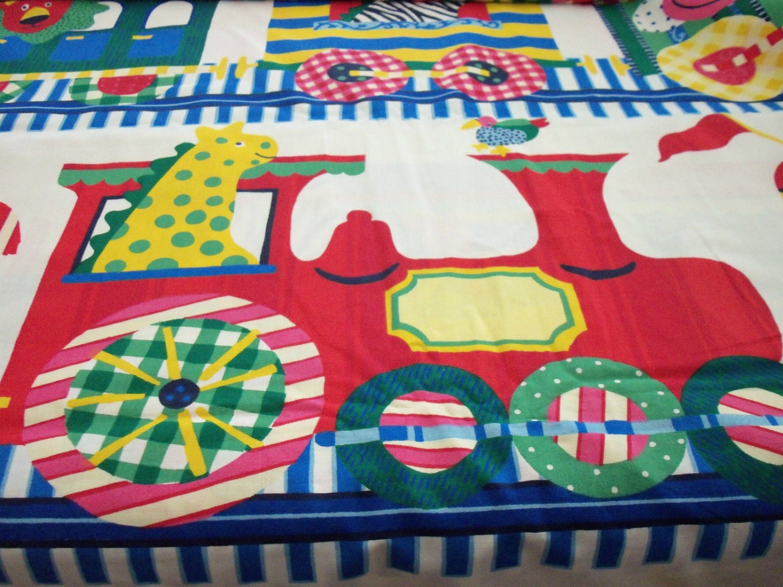 All aboard fabric cho cho train animals great nursery kids for Kids train fabric