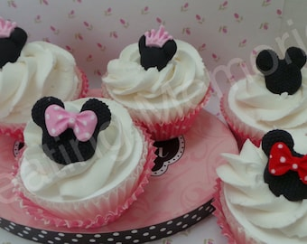 18 Minnie Heads with crown, bows or by themselves Cupcake Toppers made of Vanilla Fondant. Sugar sprinkles to match