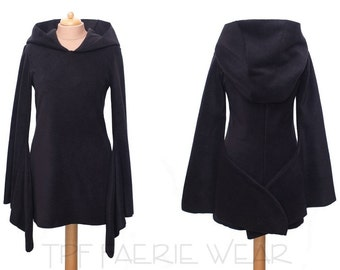 Plain Fleece Arabelle dress/top (Mini length) -Celeste hood/Sovereign sleeves