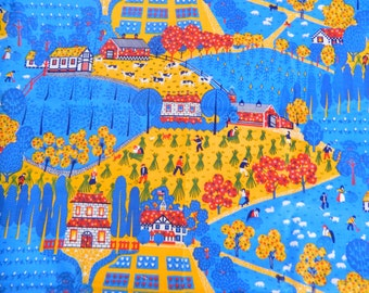 Vintage Farm Scene Fabric Remnant ... 1970s Colorful Cotton Material ... 1 Yard