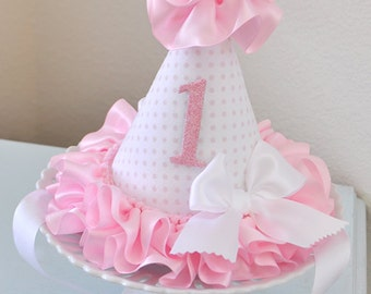 Girl's Ruffles and Bows Birthday Party Hat, special occasion, photo prop