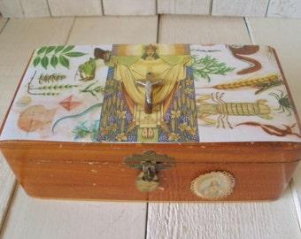 Vintage prayer box wood embellished religious shrine Christ icon nature- free shipping US