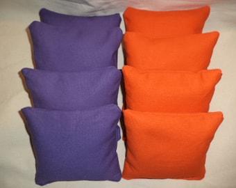 Cornhole Bags 8  Purple and Orange corn hole bean Bags ACA Regulation bags