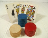 Vintage Wooden Pla-M-Wel Poker Chips Collection of 32 - Red, Blue & Natural Wood Round Coin Pieces for Repurposing - Embossed with Pla-M-Wel