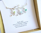 Sterling Silver Family Tree Necklace with Hummingbirds and Sentiment Card... Personalized Initials and Birthstones