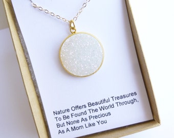 Rainbow Druzy Quartz Circle Pendant Necklace -- Mothers Sentiment Card  -- 14kt Gold Filled Chain