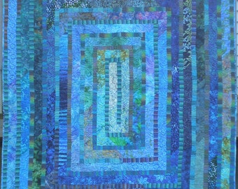 Large Contemporary Lap Quilt in  Tranquil Blues and Greens