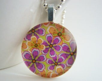 Modern Purple Flowers Pendant with Free Shiny Ball Chain Necklace