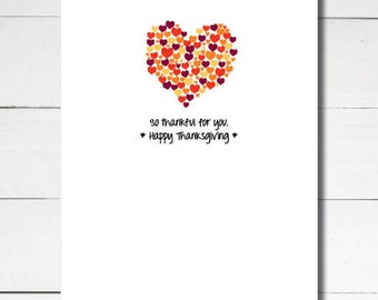 Instant Download Printable Thanksgiving thankful thanks greeting card size A2 4.25x5.5 love