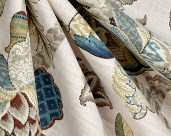 Pair of Custom Curtains or Drapes, P. Kaufmann Finders Keepers Blue, flowers in grey, turquoise, green, brown