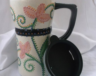 Eco Friendly Ceramic Travel Mug w/lid -Pink and green Flowers, swirls and dots