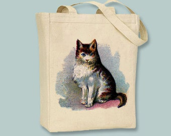Vintage Cat illustration on Canvas Tote -- Selection of sizes available