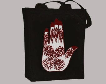 Mehndi Henna Hamsa Hand Natural or Black Canvas Tote - Selection of sizes, image in ANY COLOR