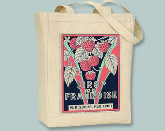 Vintage French Advertisement, Sirop Framboise, BLACK or NATURAL Canvas Tote -- selection of sizes available