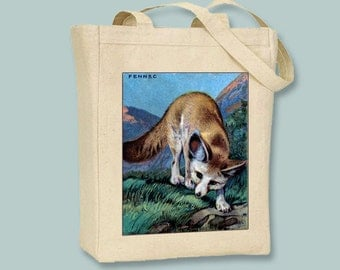 Sneaky Fox Fennec Image on Natural or Black canvas tote  -  Selection of sizes available
