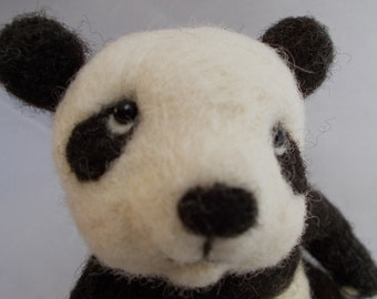 Panda Bear, Needle Felted Panda, One of a kind by Grannancan