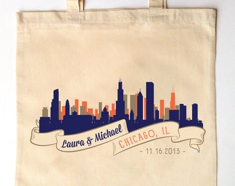 Chicago Skyline Custom Printed Wedding Guest Totes - Chicago Wedding Tote Bags