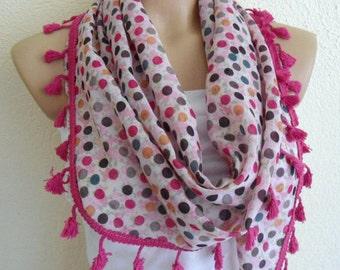 Neck scarf, Women scarf, fringed scarves, Ladies scarves, Pink Polka dot scarf, unique scarf
