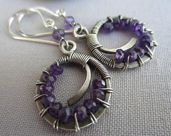 Amethyst Earrings / Silver Wire Earrings with Amethyst/Artisan Earrings/ Amethyst Hoops/ Hammered Silver Earrings with Amethyst