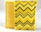 100% Cotton Washable Sponge Set of 2  // Yellow and Grey Chevron // Eco Friendly Kitchen // Bath