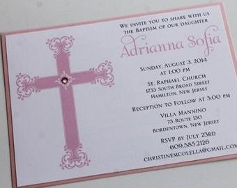 Pink Regal Cross Baptism-Communion Invitation;  Decorative Cross