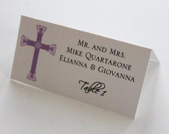 Purple Regal Cross Baptism-Communion Place Cards