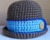 CROCHET PATTERN - Downtown Boy - a bowler hat pattern for boys and cloche hat for girls in 8 sizes (Infant - Adult L) - Instant PDF Download