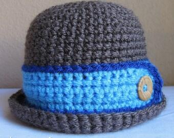 CROCHET PATTERN - Downtown Boy - crochet bowler hat pattern, crochet hat pattern for boys (Infant - Adult sizes) - Instant PDF Download