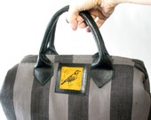 Handmade Raven Mason Bag, Striped Linen and Leather, Large Tote