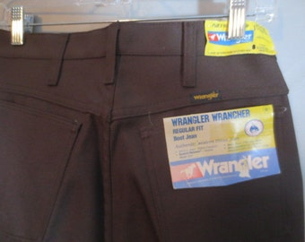1970's WRANGLER WRANCHER // Men's Polyester Pants // Boot Cut // NEW Deadstock...31X34