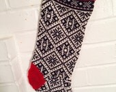 SALE!!! Patchwork Christmas stocking upcycled red black white
