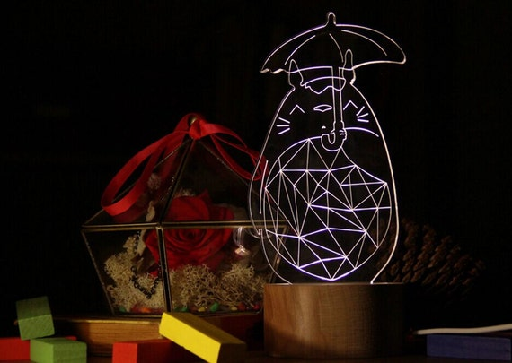totoro with umbrella doraemon night light wood lamp by dokkipaper. Black Bedroom Furniture Sets. Home Design Ideas