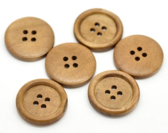 "50 Large Wood Buttons, 25mm or 1"" diameter, cherry wood color, but0220"