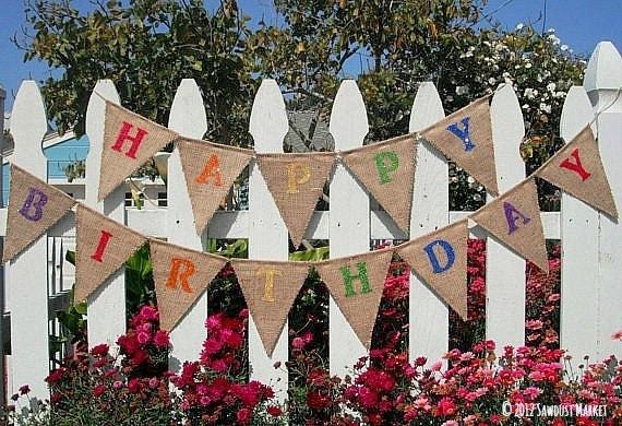 Birthday Banner Rainbow Party Burlap - REVERSIBLE Rainbow, Rainbow Birthday