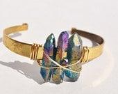 The Power of Three Iridescent Aurora  Quartz Cuff Bracelet Boho Brass Festival Fashion Coachella sxsw choose your color