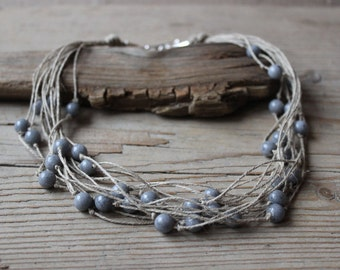 Gray jade necklace / multistrand necklace / linen hemp necklace / sterling silver