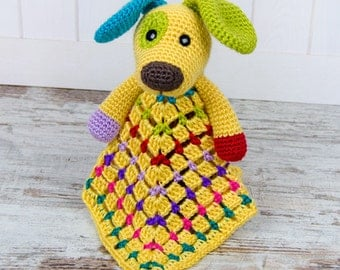 Scrappy the Happy Puppy Lovey / Security Blanket - PDF Crochet Pattern - Instant Download - Blankie Baby Blanket