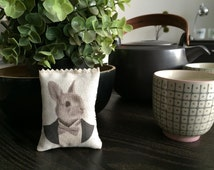 Rabbit Lavender Bag, Scented Drawer Sachet Animal Portrait in Tuxedo - Organic Lavender Dryer Sachet - free shipping