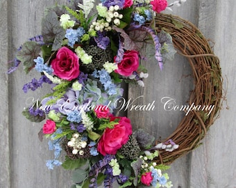 Spring Wreath, Easter Wreath, Floral Wreath, Designer Floral, Victorian Garden, Country French, Elegant Floral, Cottage Wreath, Hydrangea