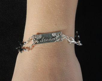 "Hematite Star Bead Bracelet with ""Dream"" Charm, 7 3/4 inches"
