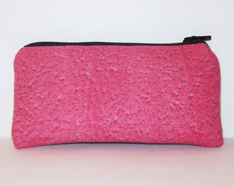 "Pink Pipe Pouch, Funky Pipe Bag, Glass Pipe Case, Small Pouch, Padded Pouch, Splatters Pouch, Cute Pink Pouch, Stoner Gift Idea - 5.5"" SMALL"