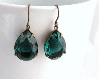 emerald green earrings Green Jewelry Antique Brass tear drop dangle earrings