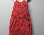 Vintage 80's  RED Hand Dyed Denim Overalls - Size Small