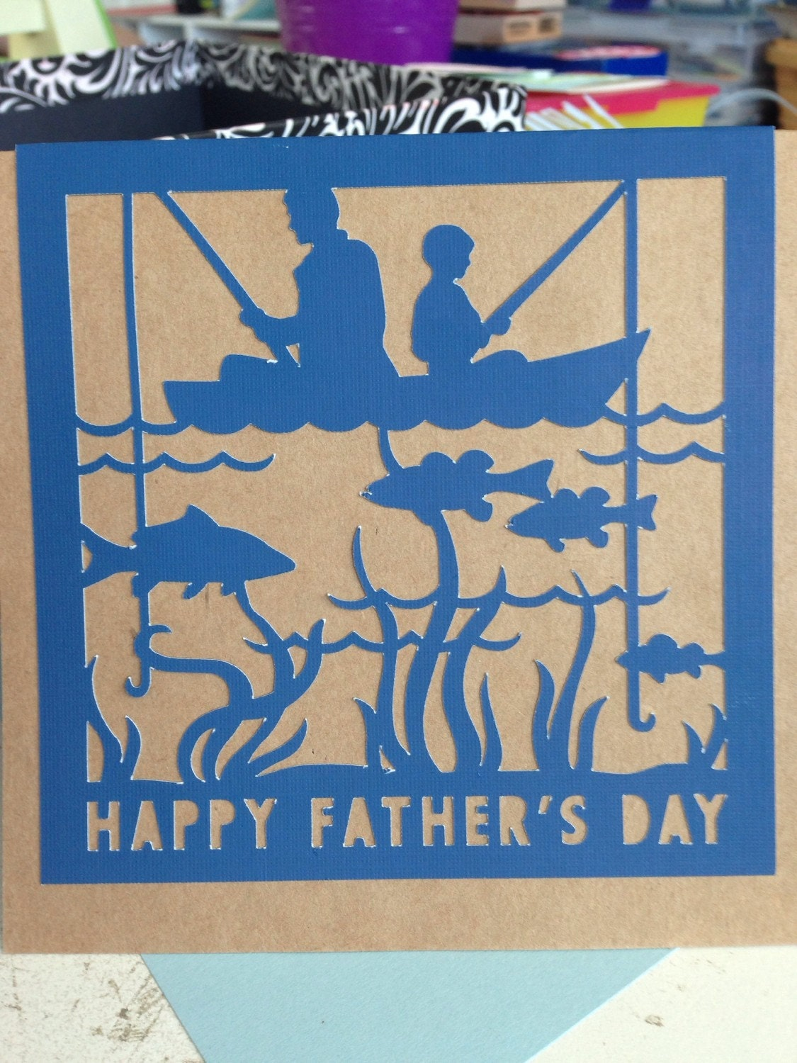 Fathers Day Card Fishing Father Son by PaperMoments on Etsy