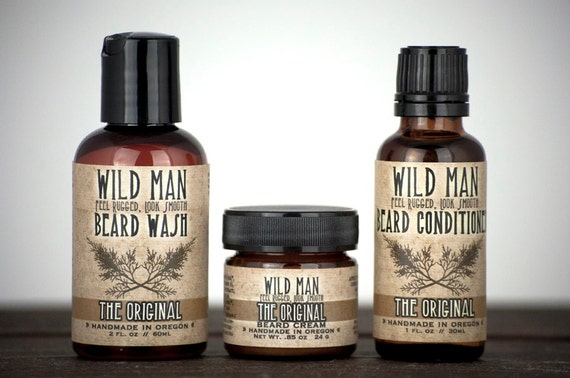 Beard Grooming Gift Set - Three Pack - Beard Oil Conditioner, Wash and Cream - For Him
