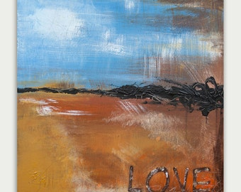Original Abstract painting Modern-Textured Painting- Home decor acrylic on canvas-Love -Letters-Print