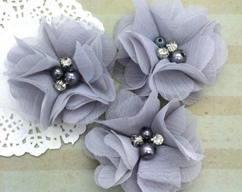 "Silver Mini Chiffon Flowers with rhinestones & pearl centers Small  2"" Silver Gray Whitney shabby chiffon layered flowers wholesale flowers"