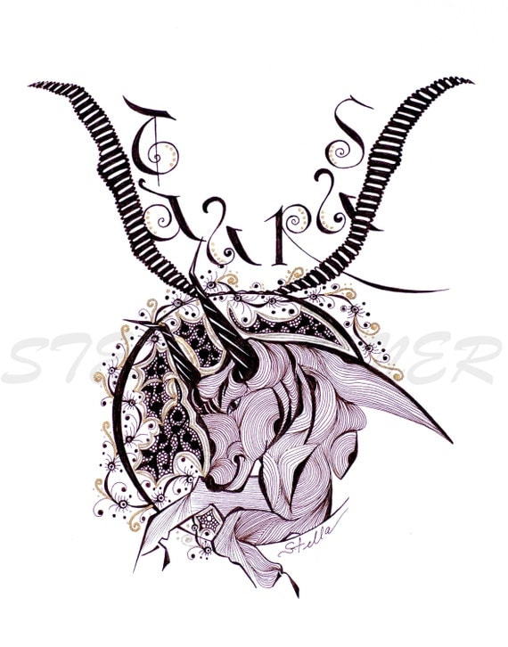 Zodiac  Zentangle  TAURUS  -   print from original design and drawing, yoga wall decor