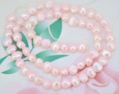 Loose Flat Light Pink Pearl Strand, freshwater cultured pearl beads ,Round Seed Pearl Gemstone Bead Whosale Pearls Strand, Full One Strand